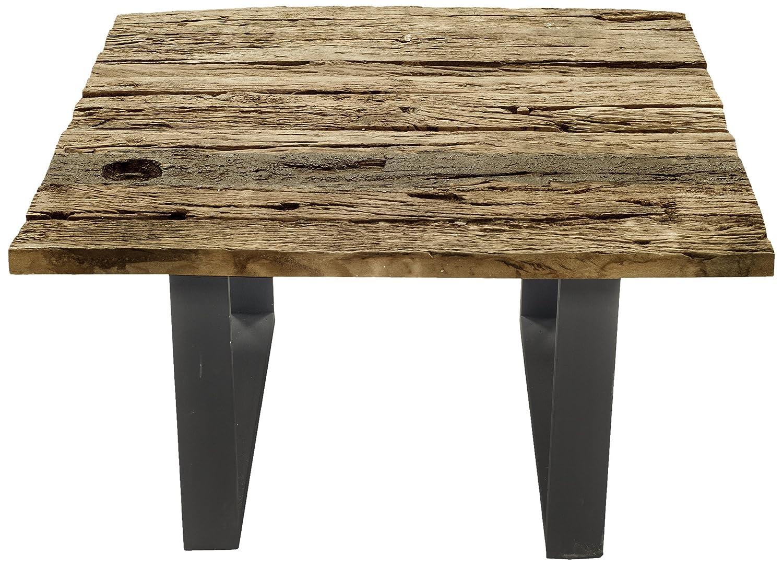 SIT-Möbel 6180-01 Couchtisch Thar, recyceltes Altholz, Gestell Eisen antik, 80 x 80 x 45 cm, braun