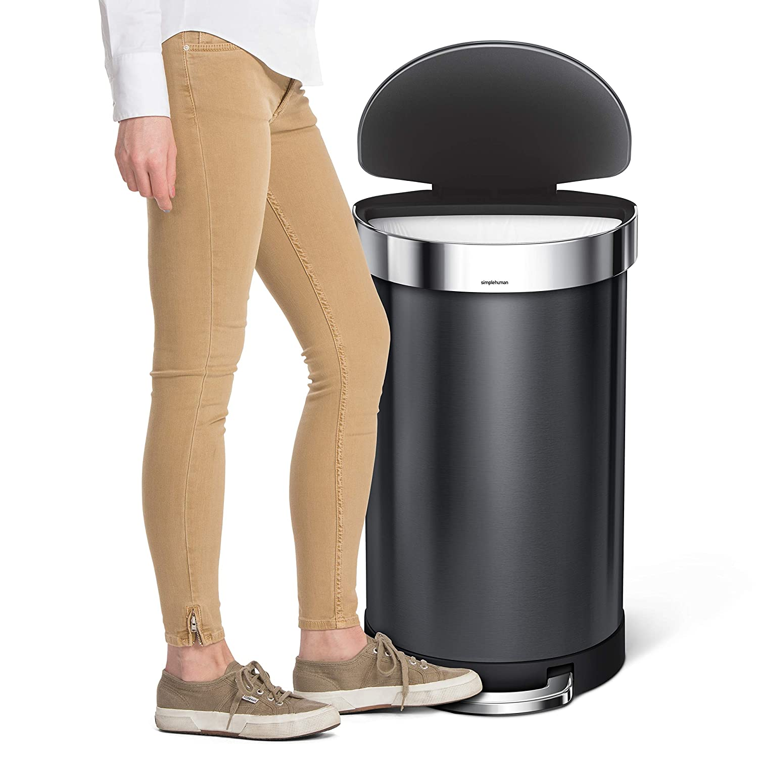 Black Stainless Steel CW2075 simplehuman 45 Liter 12 Gallon Stainless Steel Semi-Round Kitchen Step Trash Can with Liner Rim