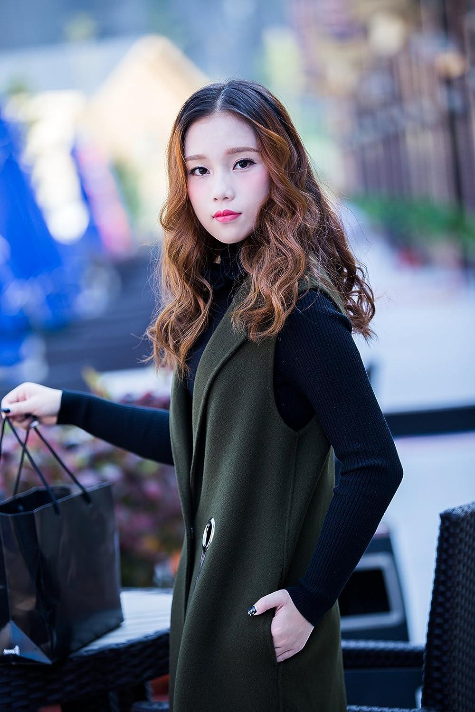 CG Womens Slim Vest Wool Coat Wasitcoat Sleeveless Lapel Jacket Long Coat
