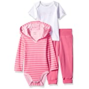 Hanes Ultimate Baby Flexy Knit Jogger with Hoodie and Short Sleeve Crew Set, Pink Stripe 6-12 Months