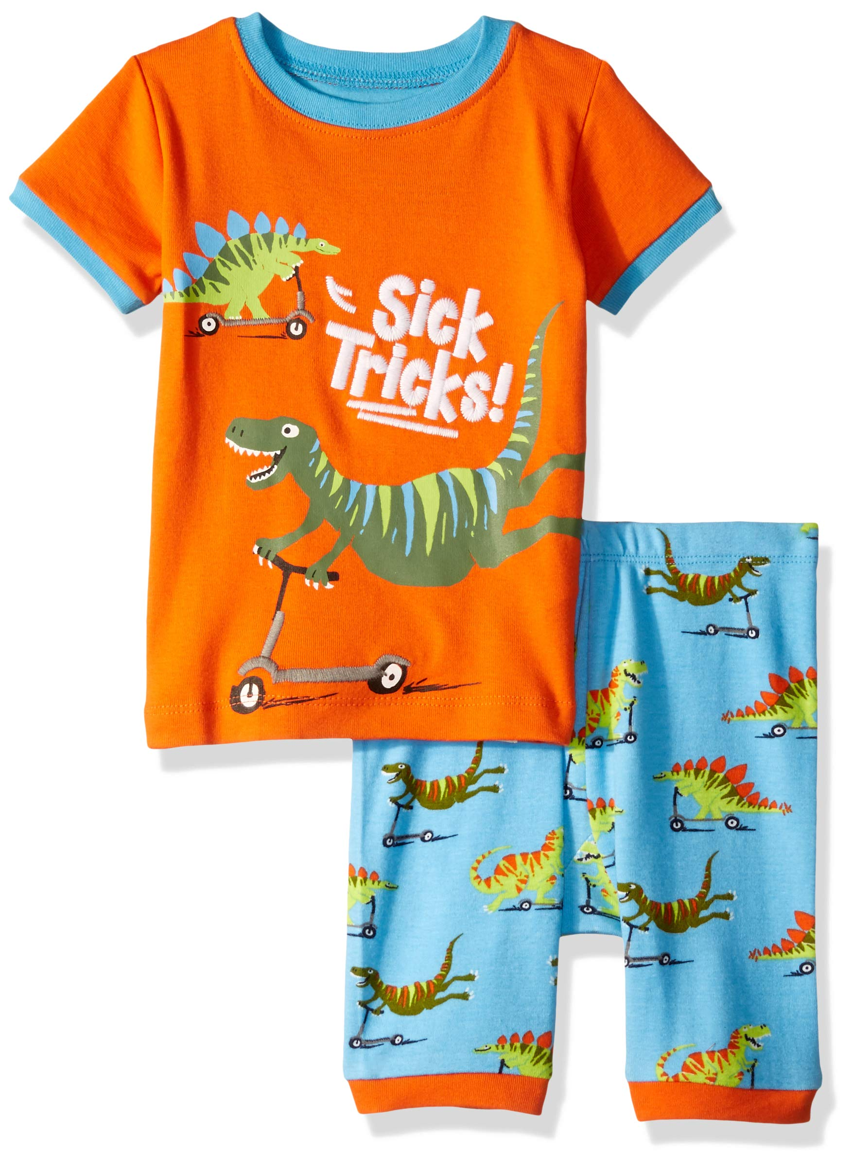 Hatley Boys' Little Organic Cotton Short Sleeve Appliqué Pajama Sets, Scooting Dinos, 2 Years