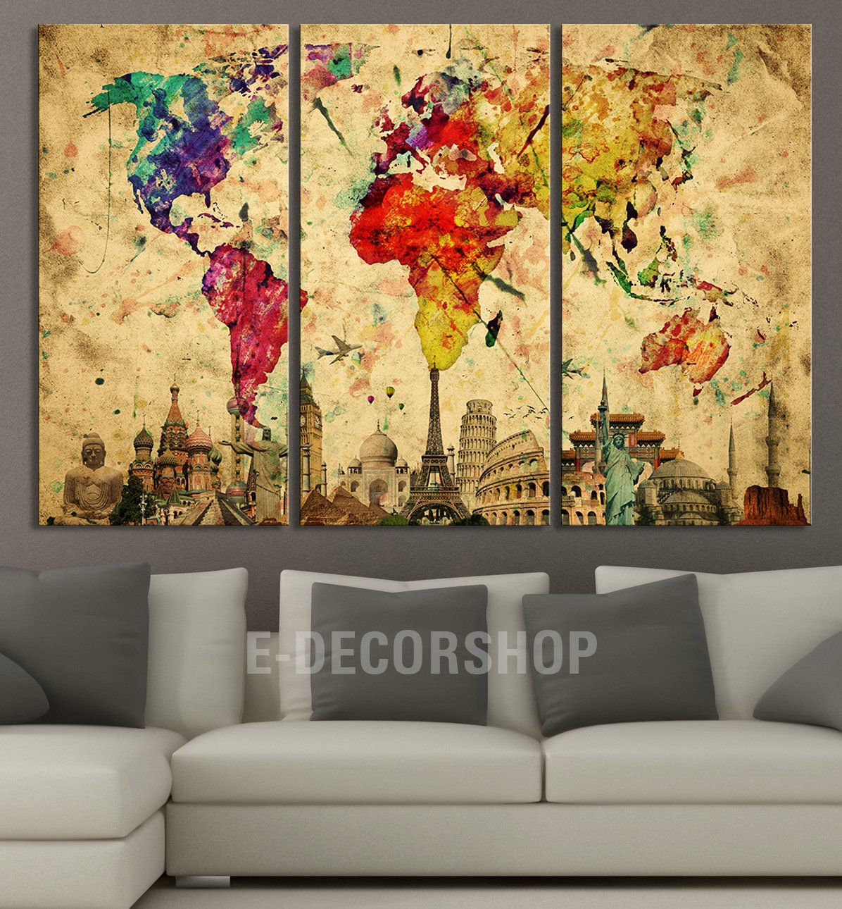 Large Wall Art Canvas World Map - Yellow Predominantly Colourful ...