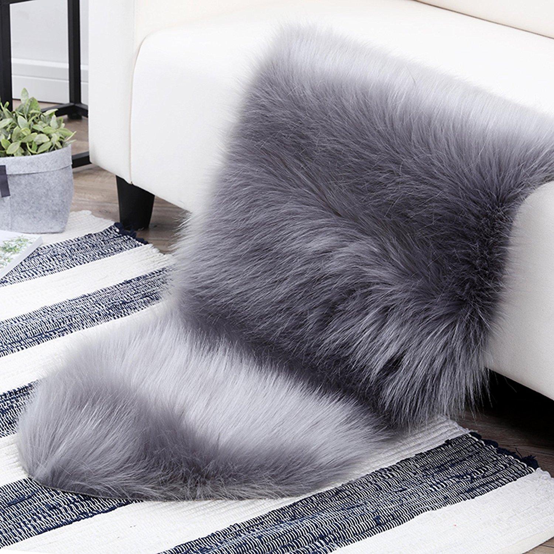 Dreamaker Fluffy Faux Fur Sheepskin Rug Chair Cover Seat Pad Home Karpet Shaggy Premium 160x230 Turkiye Carpet Floor Mat For Bedroom Sofa Living Room Grey Kitchen