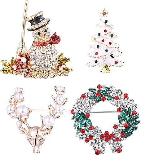Broche émail femme Bonhomme de Neige Accessoires De Fête Décoration Bijoux Cadeau de Noël