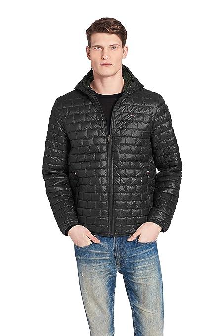 Tommy Hilfiger Men's Sweaterweight Ultra Loft Hooded Packable Puffer Jacket, Black, Small