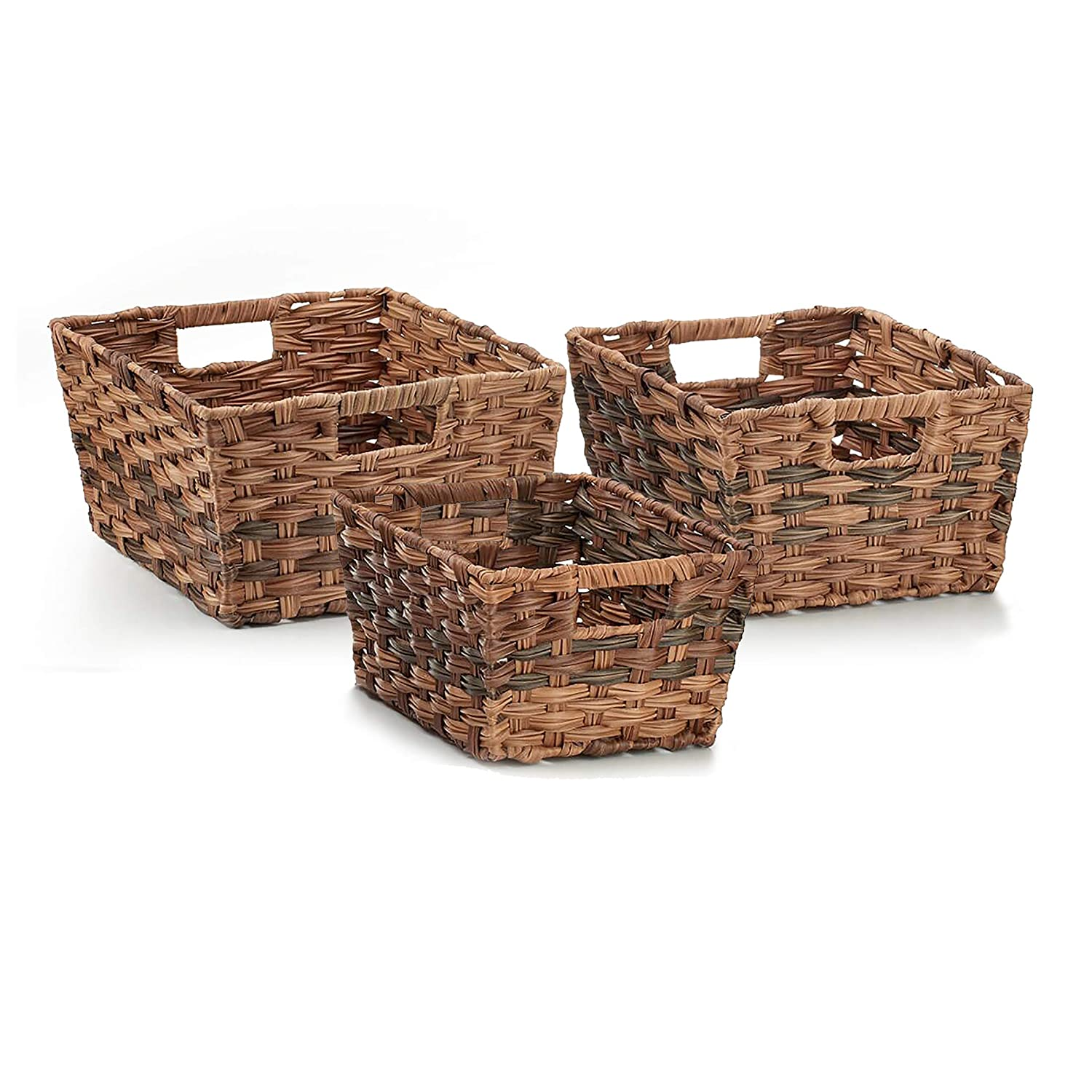 Seville Classics WEB498 Nesting Woven Rectangular Shelf Storage Basket Assortment (3-Piece Set), Granite Gray