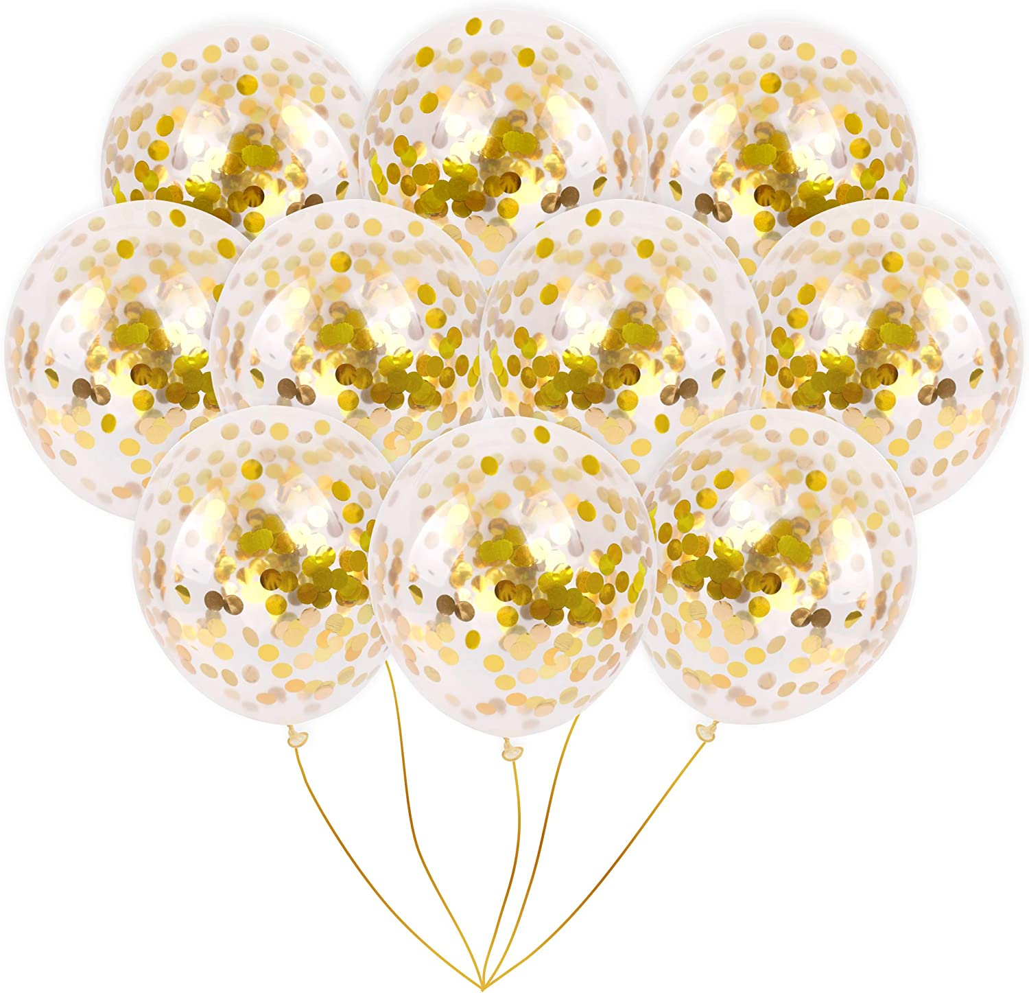 Wedding Engagement Birthday Party Events Modern Jubilee Gold Foil Confetti Balloons Vibrant Confetti Pre-Filled 10 Pack Gold, 18 Inches