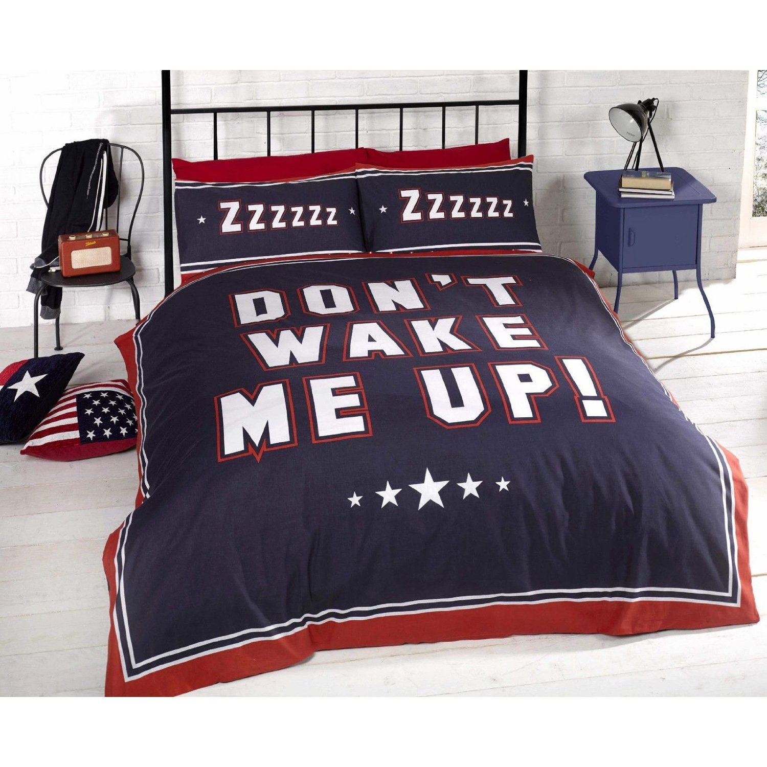 Charming Bedding Heaven Donu0027t Wake Me Up Duvet Cover. Fully Reversible. Perfect Teenage  Bedding Set. Blue And Red Striped Double, By Bedding Heaven: Amazon.co.uk:  ...