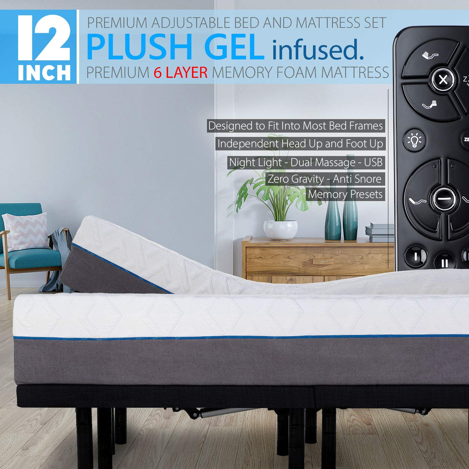 Blissful Nights 12'' Split King Cool Gel Infused Plush Memory Foam Mattress with Premium Adjustable Bed Frame Combo, Massage, USB, Zero Gravity,Anti-Snore, Nightlight (King Split)
