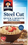 Quaker Steel Cut Quick 3 minutes Oatmeal, Brown Sugar and Cinnamon, Breakfast Cereal, 8 Packets