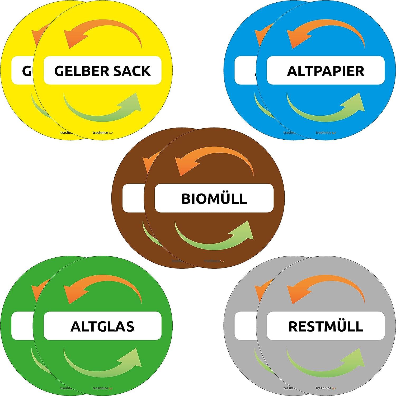 Verpackungen//Gelber Sack, Restm/üll, Alt-Papier, Biom/üll, Alt-glas RESORTI Aufkleber 5er SET f/ür M/ülltrennung UV-Best/ändig und Wetterfest M/ülleimer Abfalltrennsystem farbig