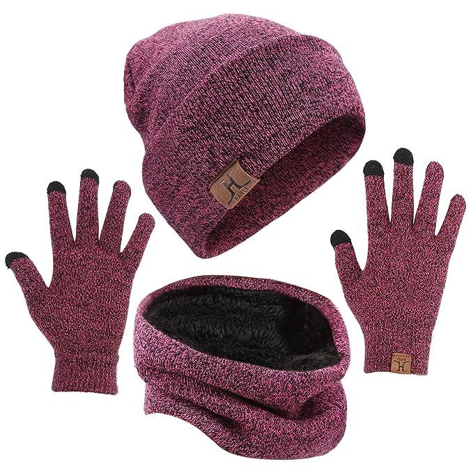 5a1b9de506ebf Mysuntown Winter Beanie Hats Scarf Touch Screen Gloves 3 Pieces Hat Scarf  Gloves Set Thick Knit