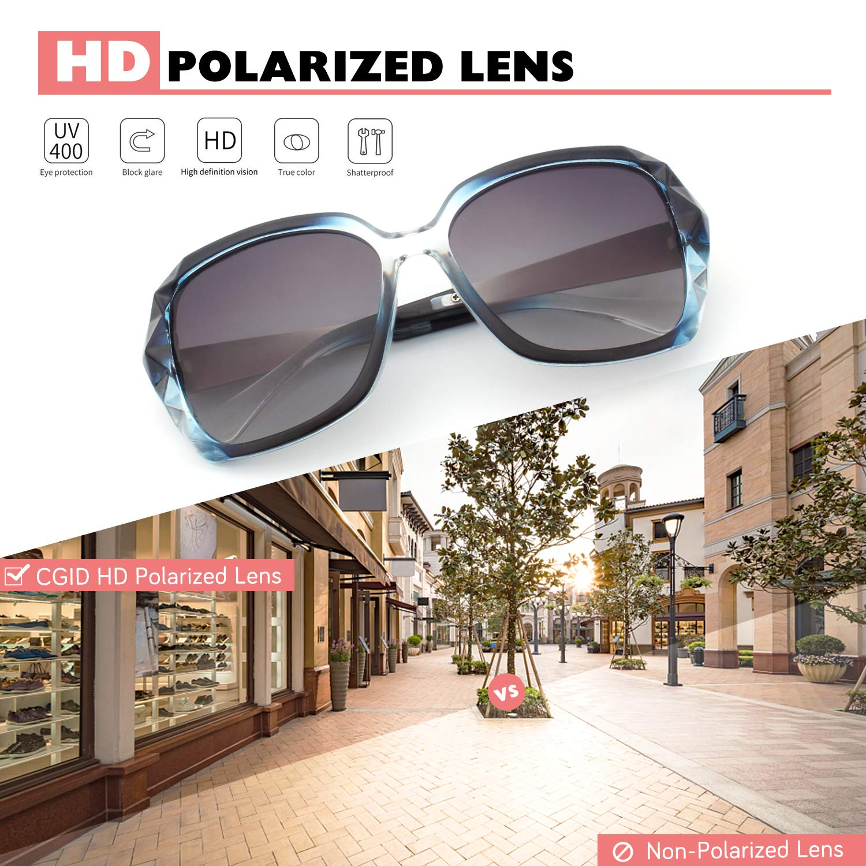 CGID Classic Polarized Sunglasses for Women 100/% UV400 Shades Diamond Cut Frame M186