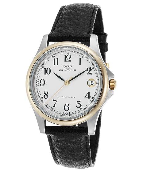 Glycine 3519 - 34-lb9 hombre negro esfera blanca con bisel de piel auténtica reloj: Amazon.es: Relojes