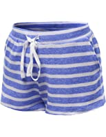 Xpril Women's Stripe French Terry Drawstring Shorts