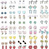 Hanpabum 50 Pairs Hypoallergenic Earrings for Kids Flower Animals Trees Ice Cream Colorful Cute Stainless Steel Stud Earrings Set Girls Jewelry
