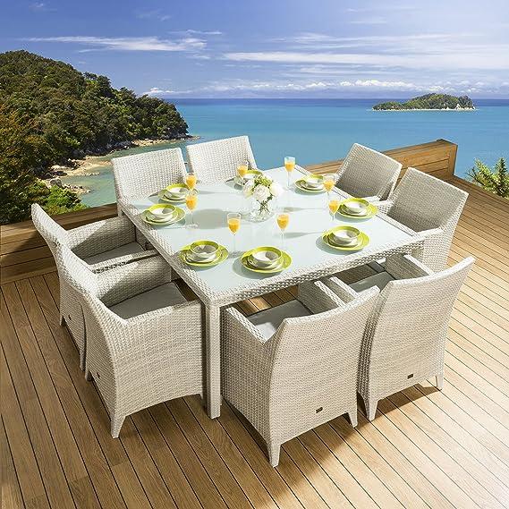 Ratán jardín juego de comedor cuadrada mesa 8 sillas grande para silla, color gris: Amazon.es: Jardín