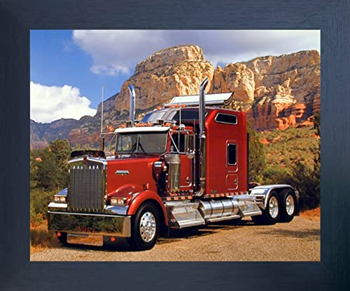 Impact Posters Gallery Framed Wall Decor Maroon Kenworth Truck Transportation Espresso Framed Art Print Picture