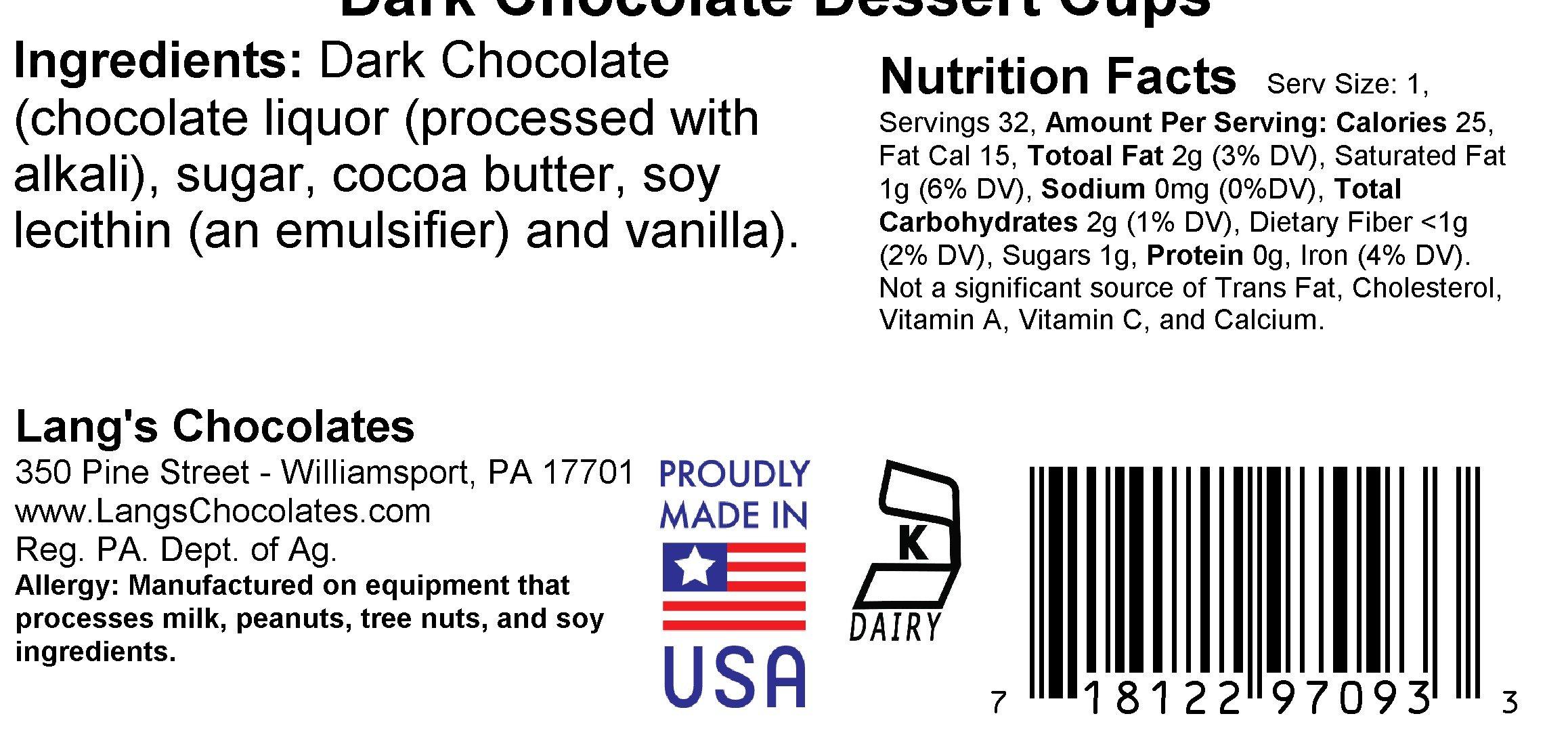 64 Dark Chocolate Dessert Cups Certified Kosher-dairy by Lang's Chocolates