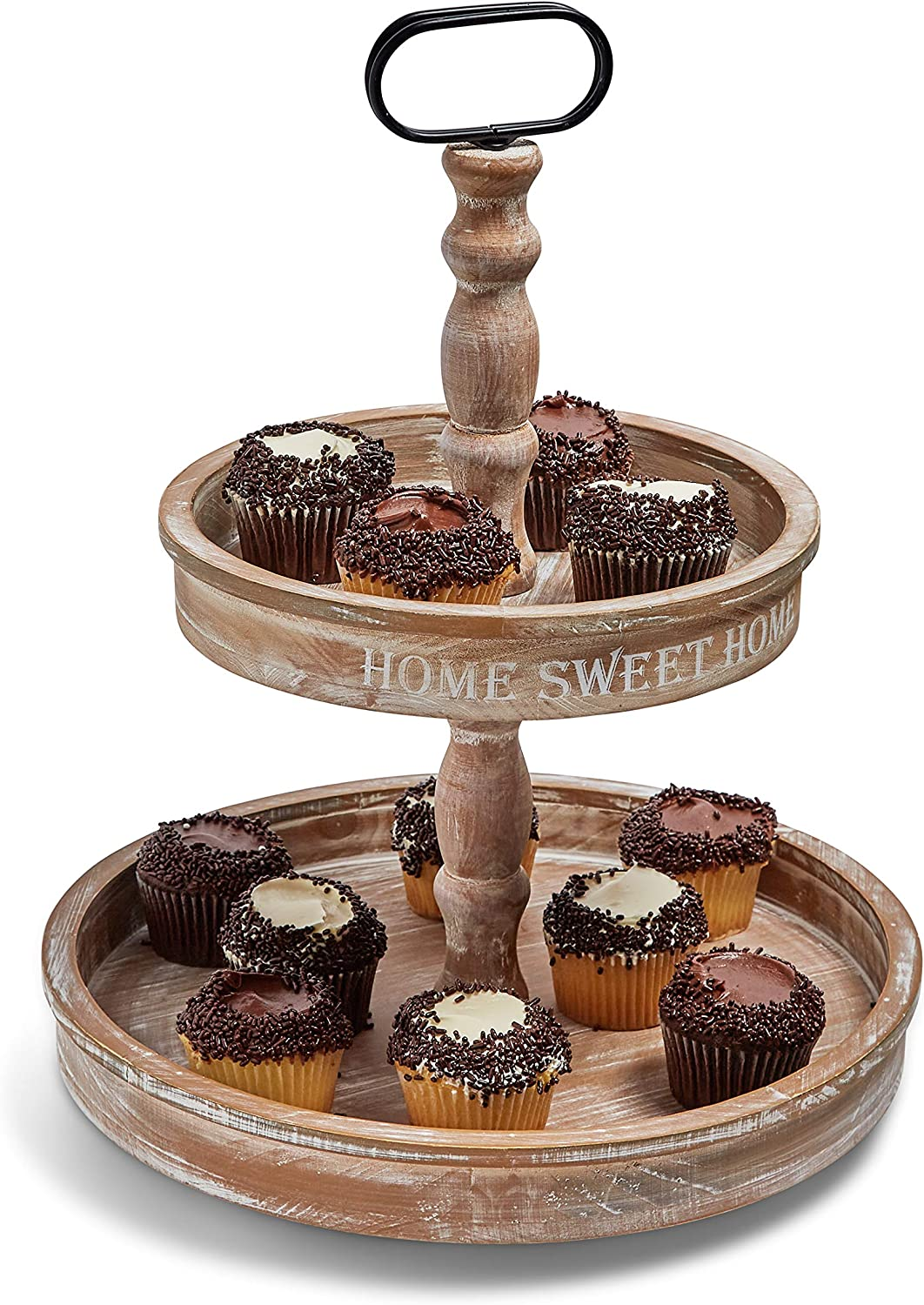 Sweet Home - Two Tier Serving Tray - Farmhouse Kitchen Display - Cupcake Stand - Rustic Wood - Sweet Printed Phrase - Fruit Basket - Coffee Table Decor - Creative Centerpieces - Round 2 Tier