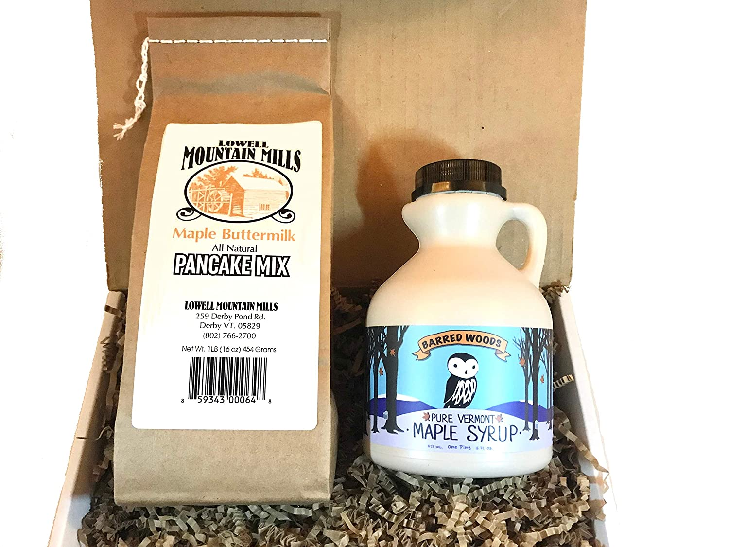 Vermont Maple Syrup and Pancake Mix Gift Box - From Barred Woods Maple Products (Amber Rich)