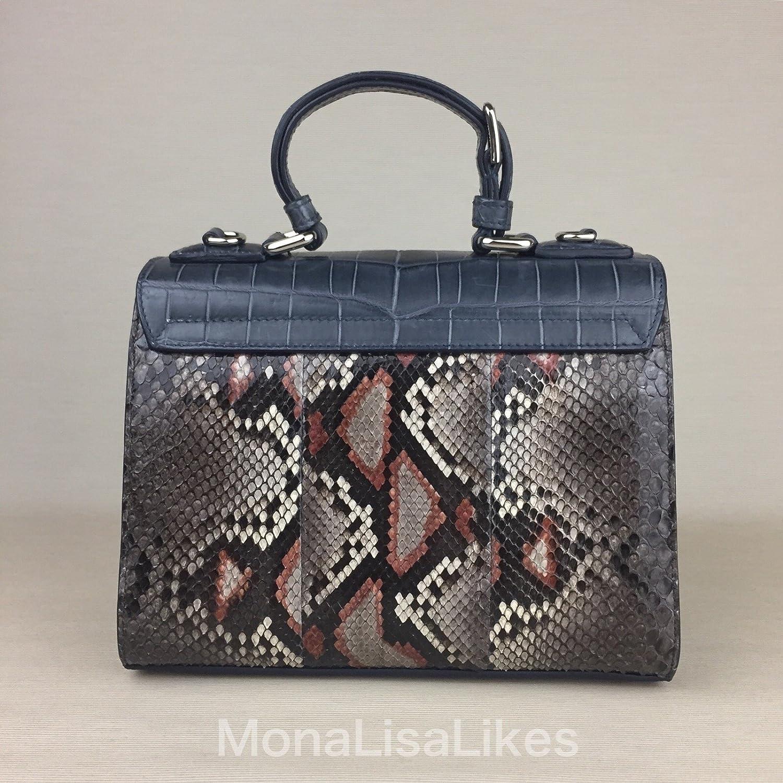 4e45b739ce DOLCE   GABBANA Miss Monica Crocodile Python Snakeskin Leather Light Blue  Brown Sicily Bag Handbag Purse  Amazon.ca  Clothing   Accessories