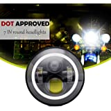 DOT Daymaker 7 Inch LED Headlight With DRL Amber Turn Signal Hi/Lo Beams For Harley Davidson Road King Ultra Classic Softtail FLHTC FLHTK Street Glide Fatboy Heritage Indian Scout Yamaha Motorcycle