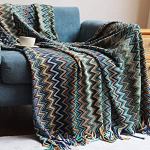 XIAKE Bohemian Throw Blankets Home Decor Boho Stripe Woven Blanket Tassels Soft Chair Bed Couch Decorative Cover Green 50