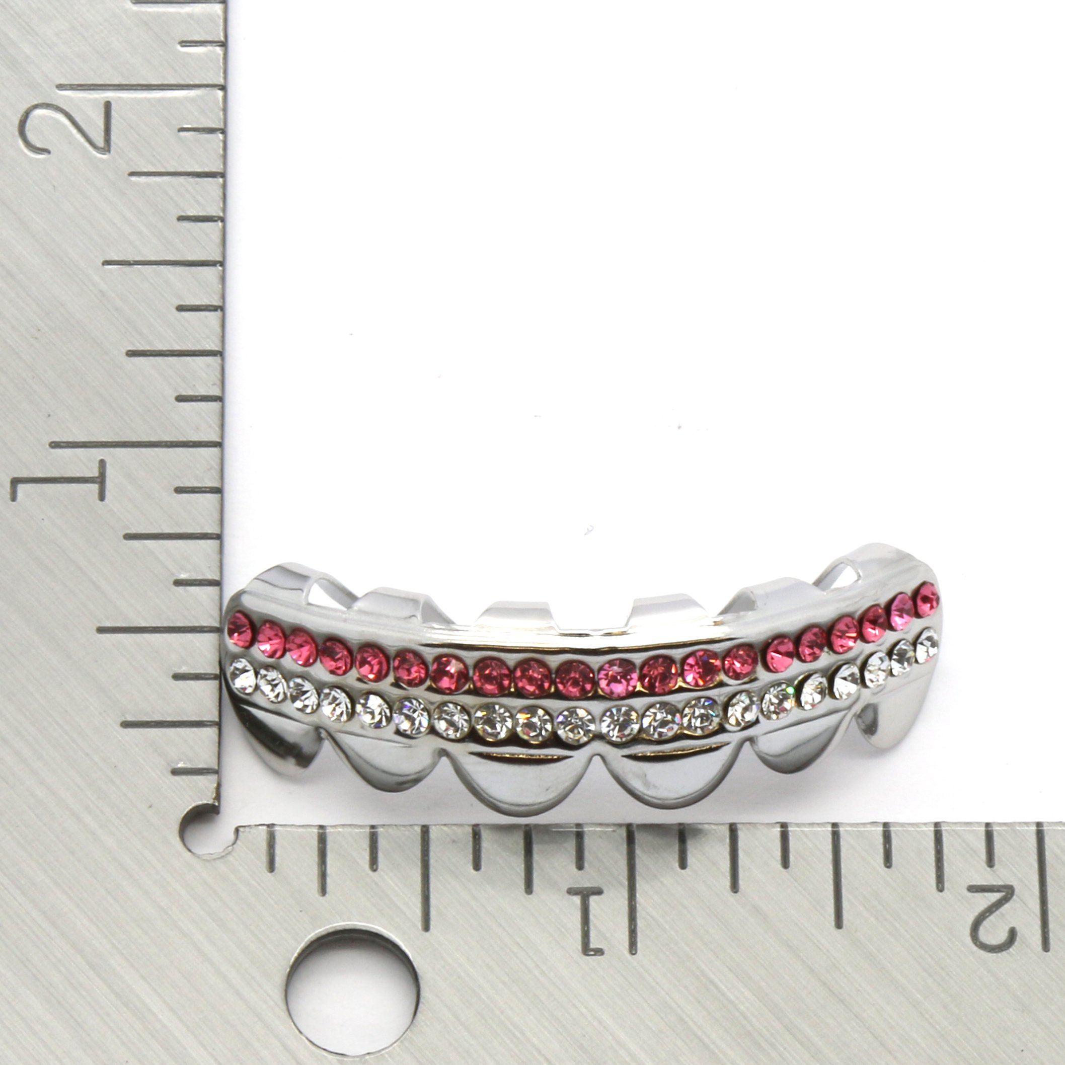 Hip Hop Top Row Platinum Silver Tone 2 Bling Rows Removeable Mouth Grillz Top Pink Lollipop
