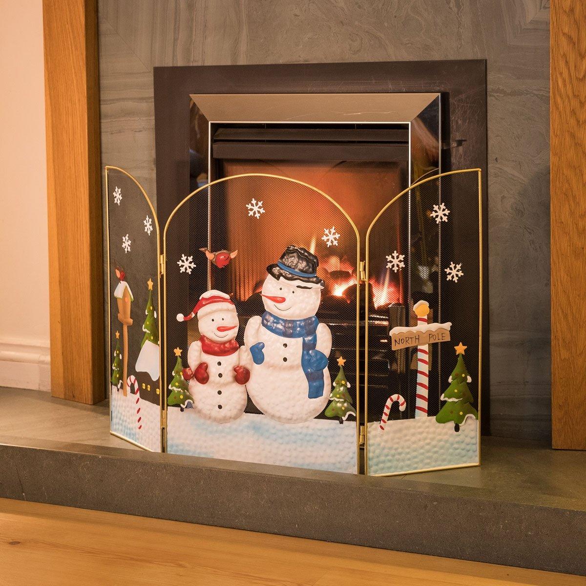 Christow 3 Panel Fireguard Fireplace Screen Snowman Christmas 49cm