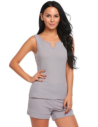 c4ade64d8ba1cd Untlet Damen Schlafanzüge V-Ausschnitt Pyjama-Set Sexy Sleepwear Top und  Short