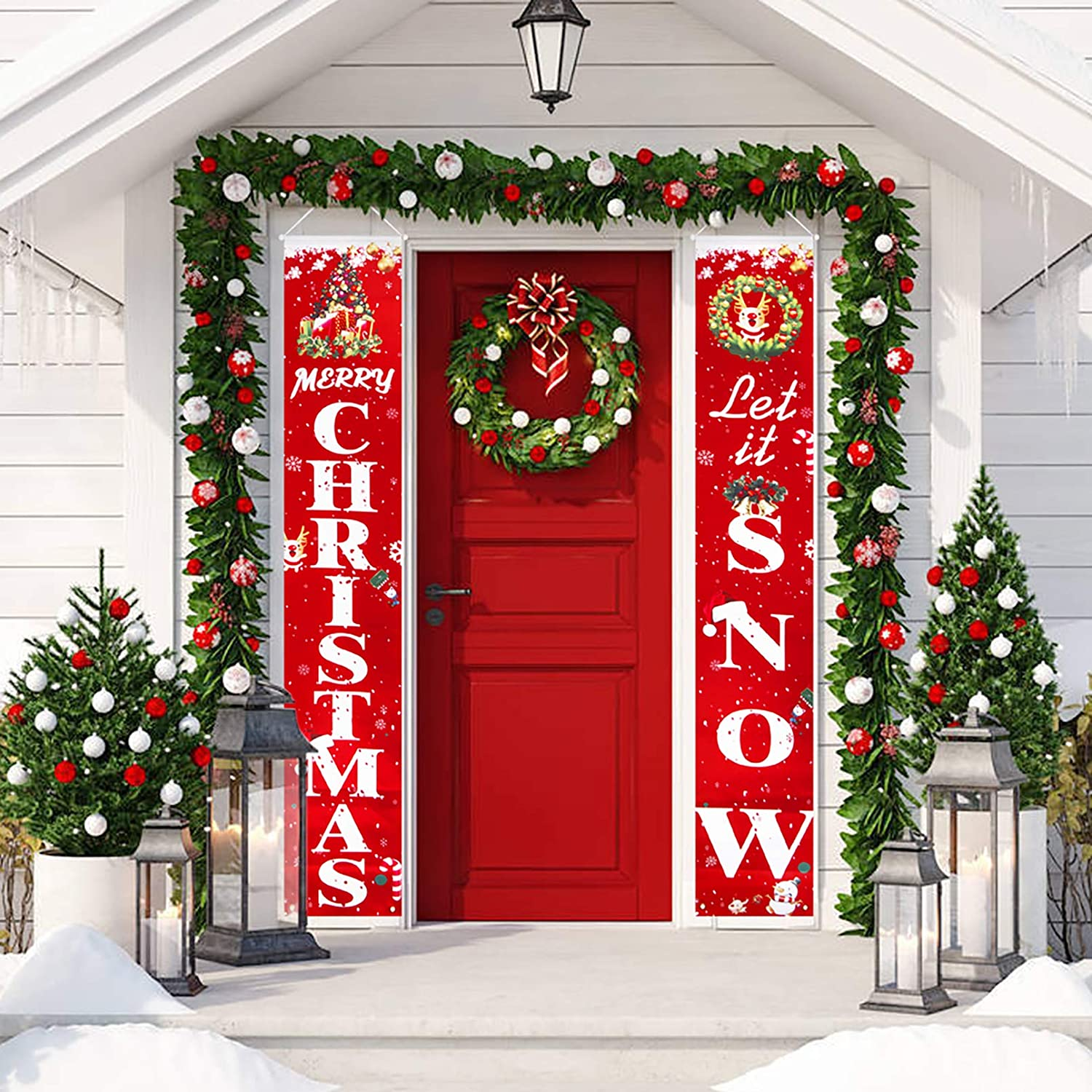 Merry Christmas Outdoor Banner Ornament Santa Claus Hanging Xmas Decoration Home
