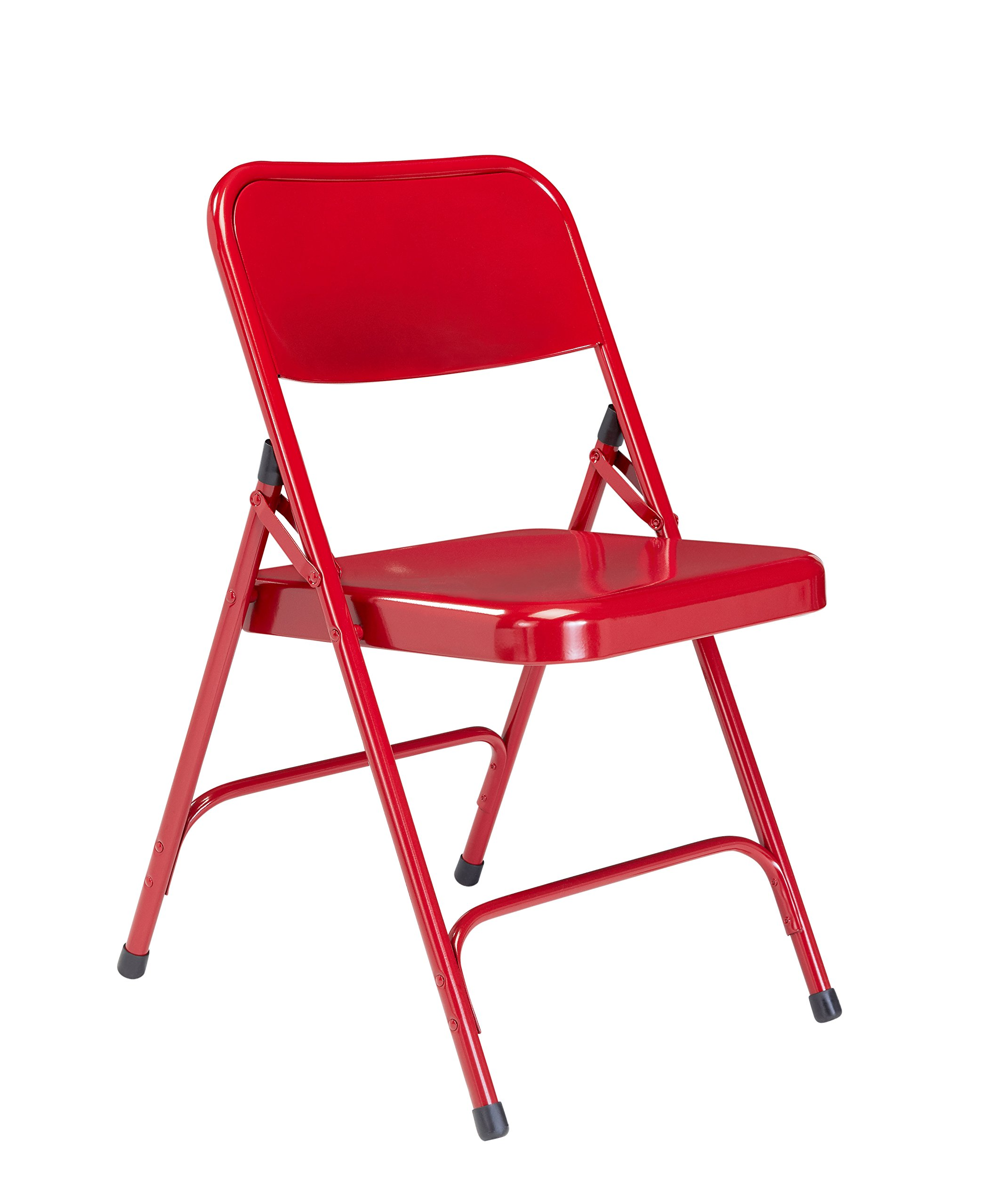 National Public Seating 200 Series All Steel Premium Folding Chair with Double Brace, 480 lbs Capacity, Red (Carton of 4)