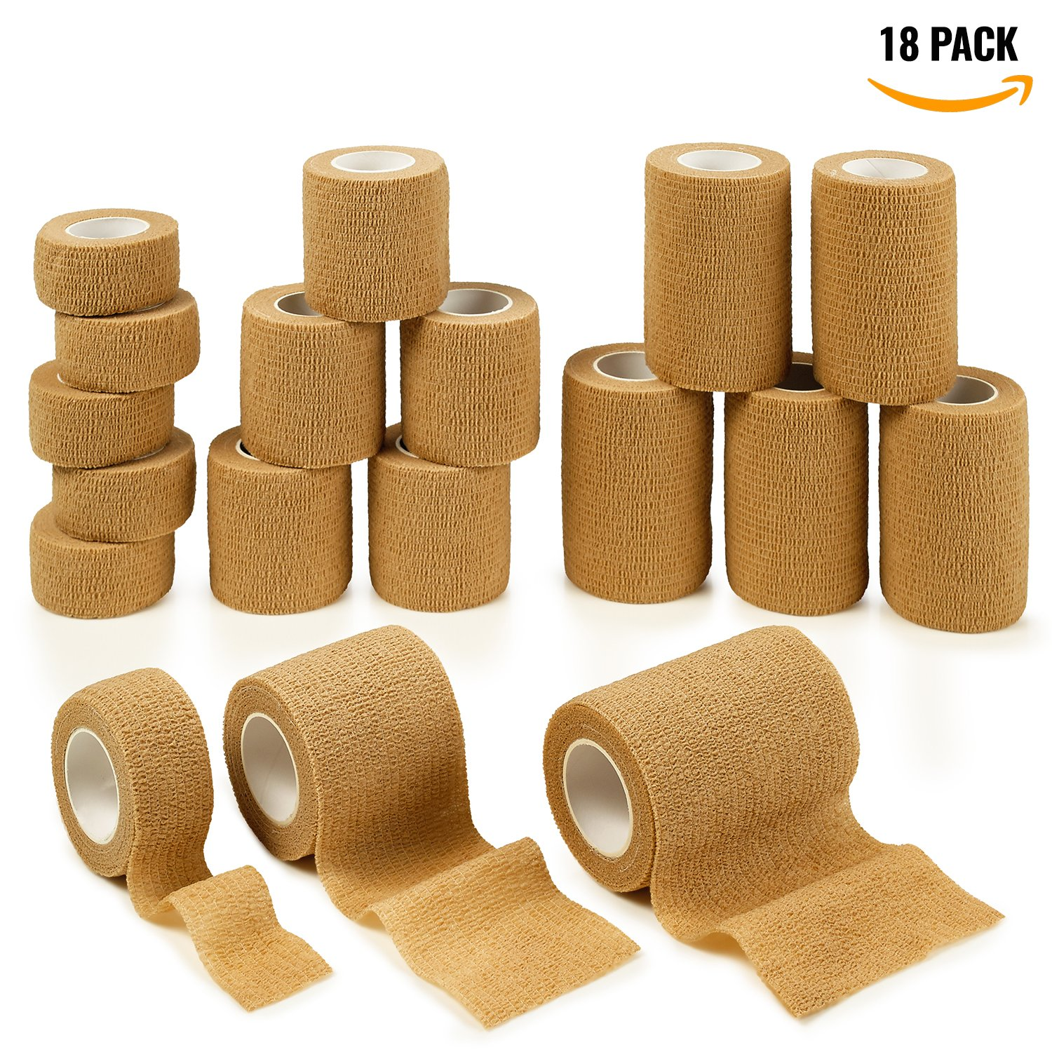 MEDca Tape Wrap, Self Adherent Rap Tape, Adhering Stick Bandage, Self Grip Roll 1 Inche 2 inch and 3 inch X 5 Yards 6 of Each Size Total of 18 Rolls Skin Color