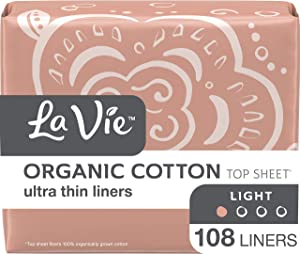 La Vie Organic Cotton Top Sheet* Panty Liners, Ultra Thin, 108 Count (3 Bags of 36) (Packaging May Vary)