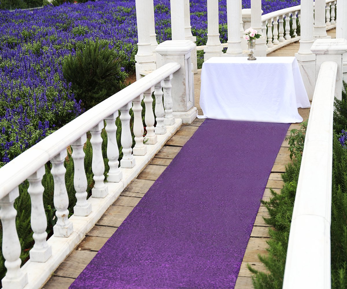 Zdada Aisle Runners for Weddings for Outdoor Wedding, Aisle Runner Purple, 36'' x15ft by Zdada (Image #1)