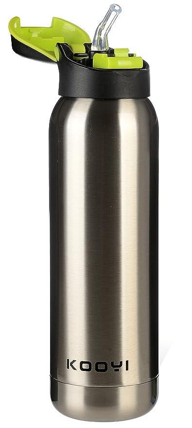 Kooyi Botella Deportiva De Acero Inoxidable Con Aislamiento 500 ML, Taza de café de viaje (plata)