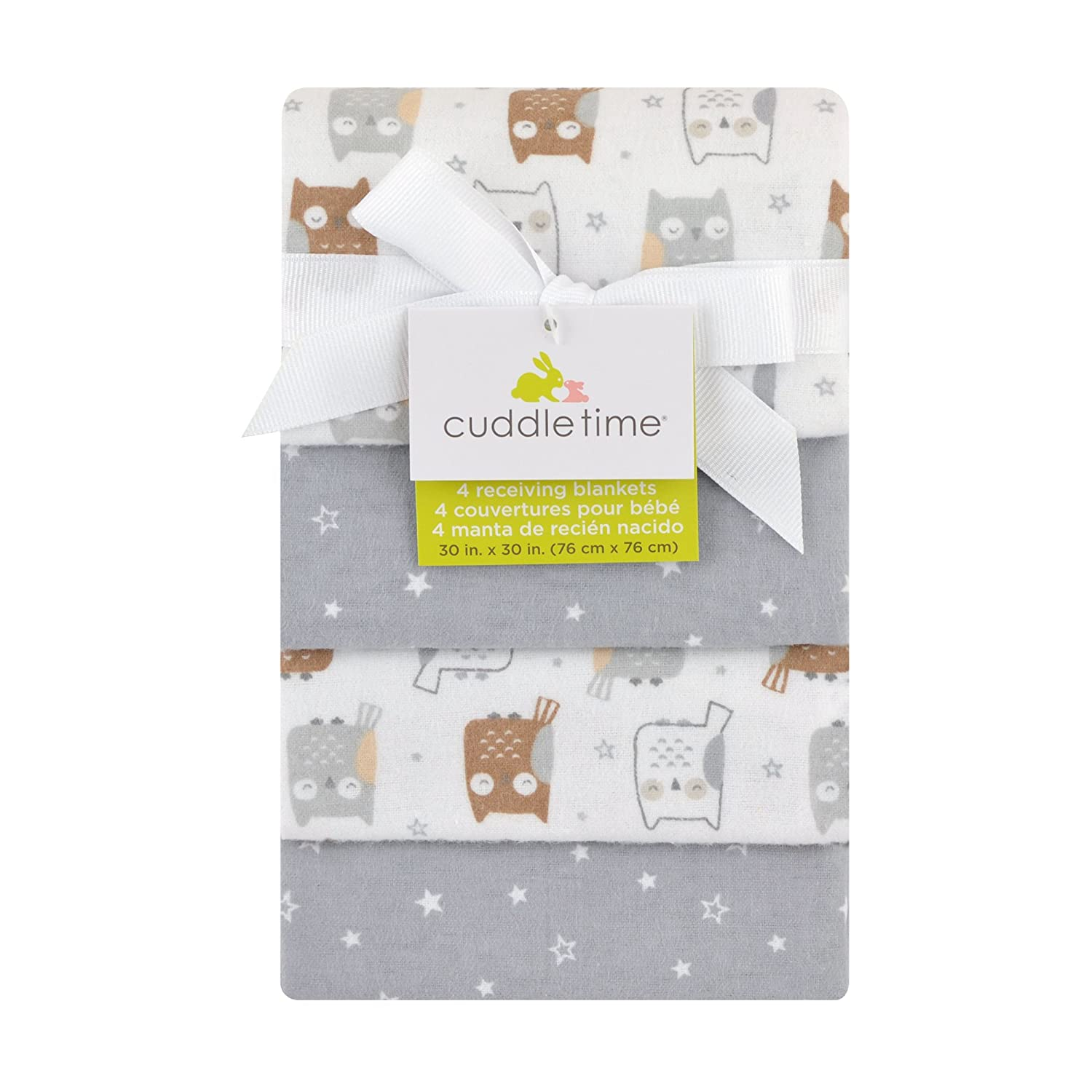 Cuddletime 4 Piece Starry Night Owls Flannel Receiving Blankets, Gray
