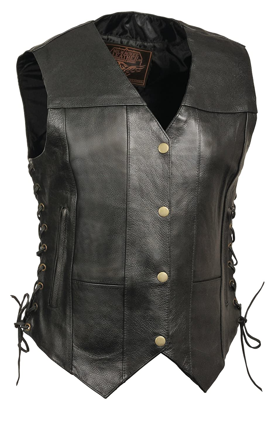 Milwaukee Leather Womens 6-Pocket Side Lace Vest Black, Large