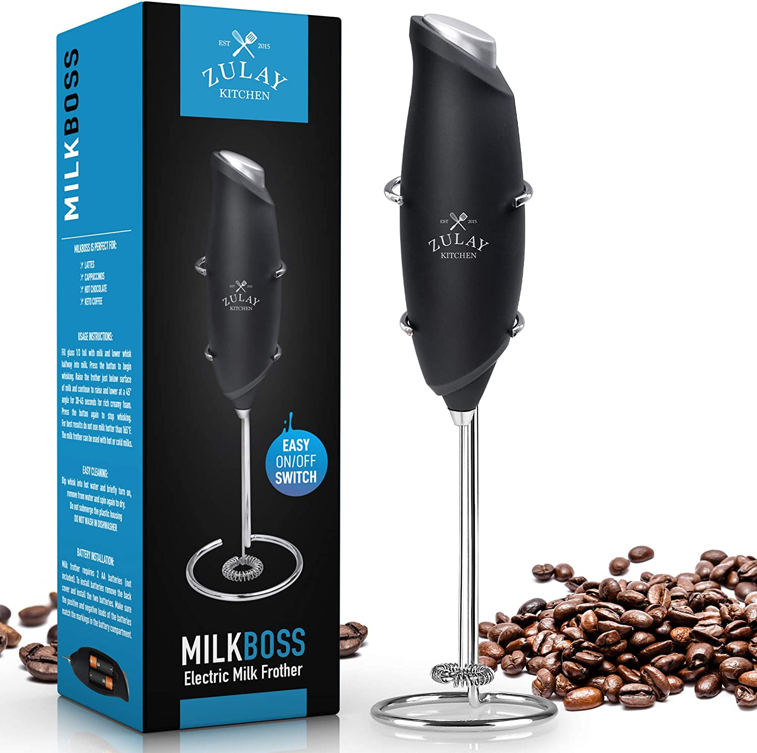 One Touch Milk Frother Handheld Foam Maker for Lattes