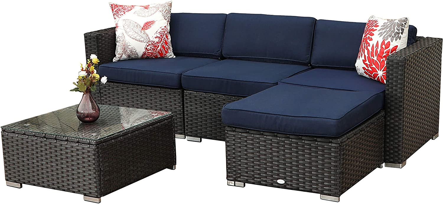Dyed Spun Polyester Fabric for Cushions PHI VILLA 4-Piece Conversation Set Outdoor Wicker Patio Furniture Set Tempered Glass Top Coffee Table Hand Woven Rattan with Upgraded Design