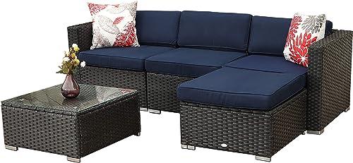 PHI VILLA Patio Sectional Outdoor Wicker Furniture Sofa Set All-weather Rattan Sofa Conversation Set 5-Piece