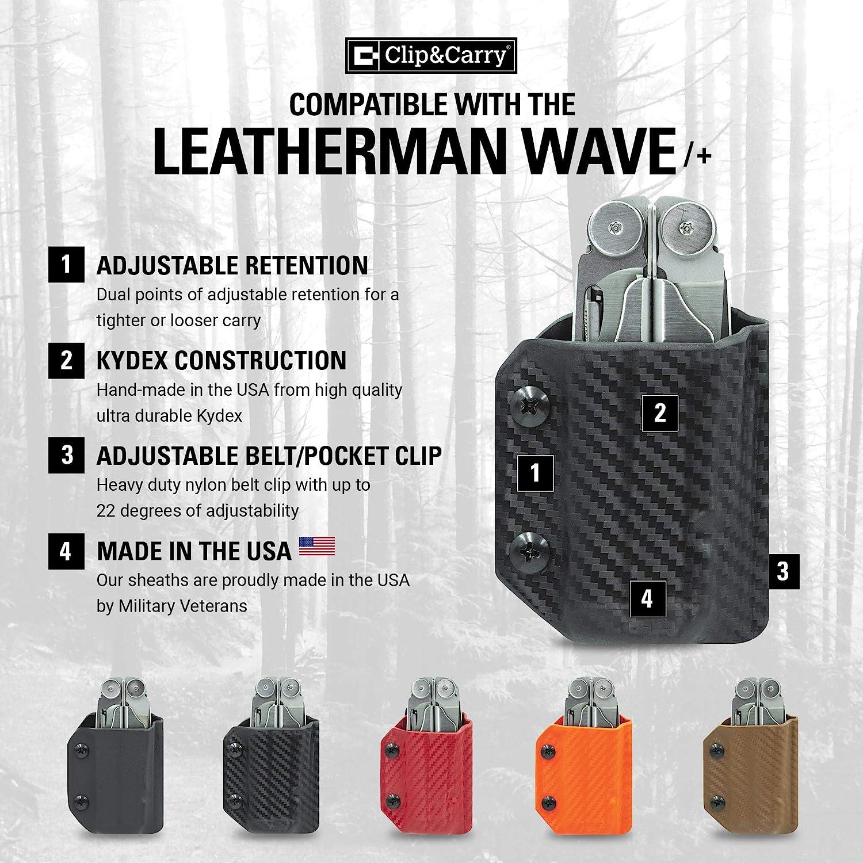 Leatherman Wave Black Clip /& Carry Kydex Sheath Wave+