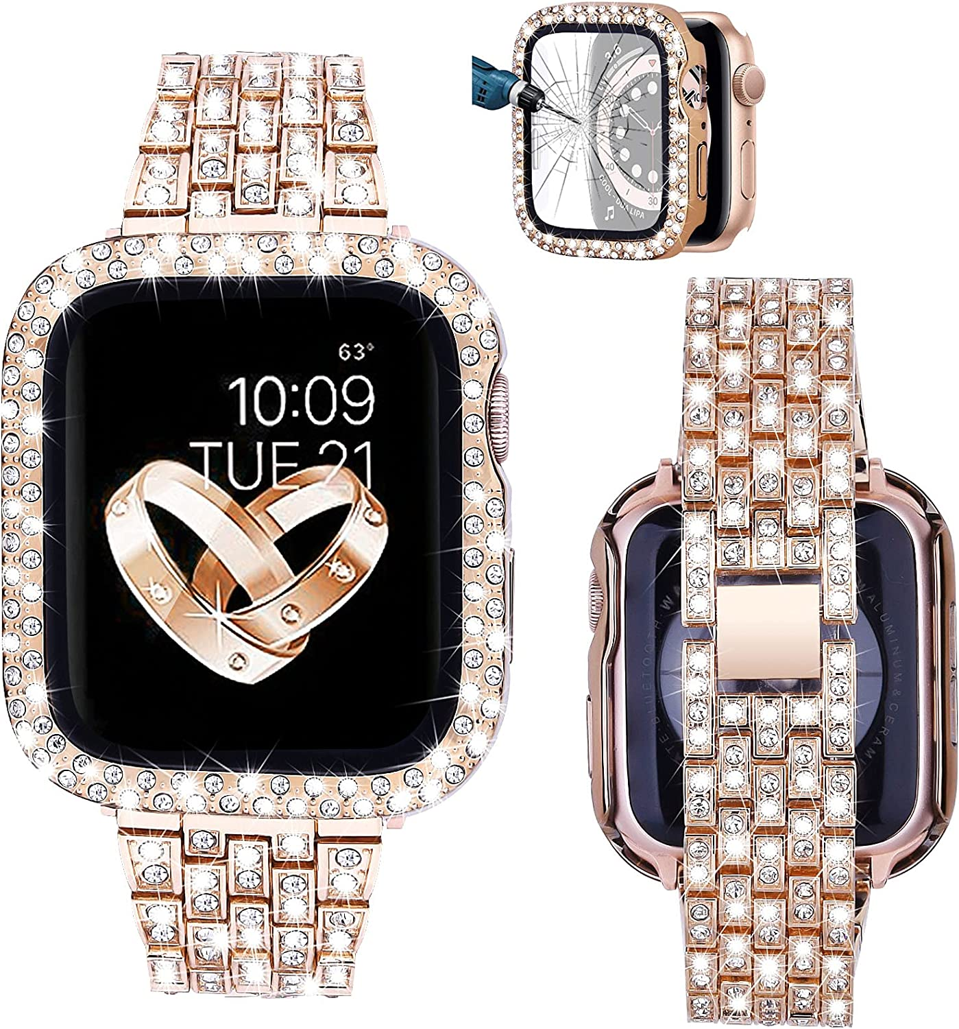 V-MORO Bands Compatible with Series 6 Apple Watch Band 40mm Women with Screen Protector Case, Jewelry Bling Diamond Metal Strap with Full Cover Protective Cases for iWatch Series SE/5/4 40mm Rose Gold