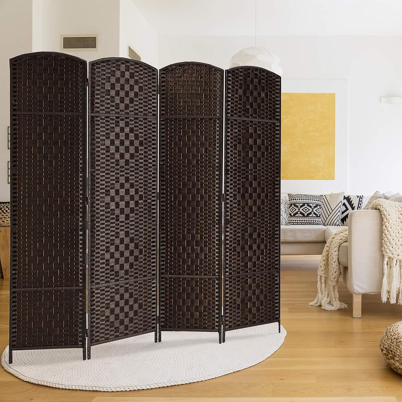 Tall-Extra Wide-Diamond Weave Fiber Room Divider,Double Hinged,6 Panel Room Divider//Screen RHF 6 ft Freestanding Room Dividers-Dark Mocha 6 Panel Room Dividers and Folding Privacy Screens 6 Panel