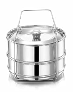 Lotus Stackable Stainless Steel Pressure Cooker Steamer Insert Pans - For Instant Pot Accessories 3 qt mini - two interchangeable lids