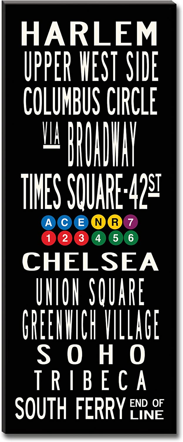 Amazon Com Uptown Artworks Subway Sign Wall Art Nyc New York Gallery Wrapped Canvas 24x60 Prints Posters Prints