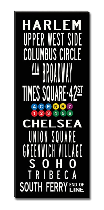Amazon.com: Subway Sign Wall Art NYC New York- Gallery-Wrapped ...