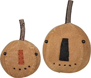 Primitives by Kathy Stitched Pumpkin Head Set, Rustic Orange