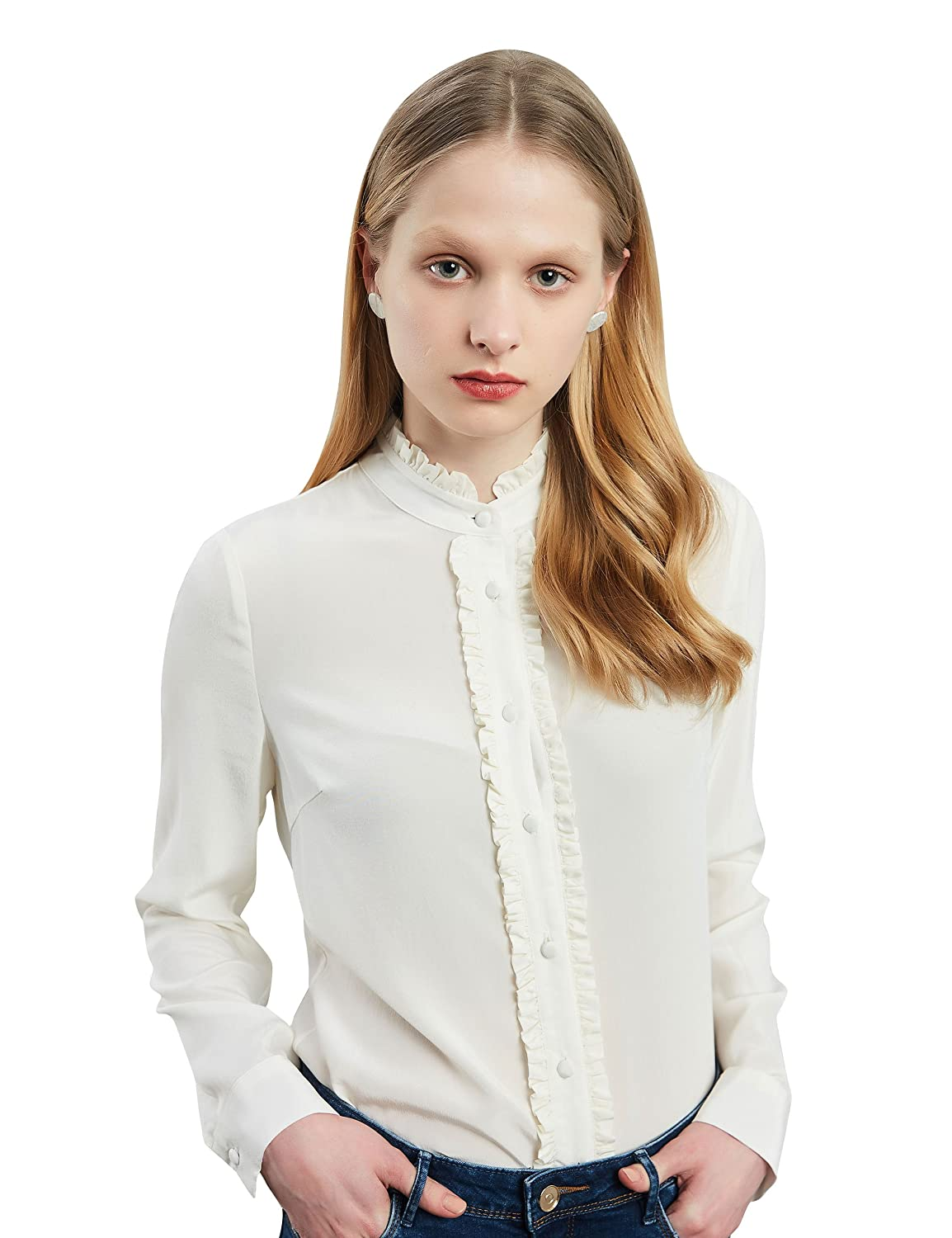 c31479a3b Silk Blouses for Women 100 Silk Blouse Long Sleeve Pure Silk Shirt White  Mulberry Silk Button Down Shirt with Frill